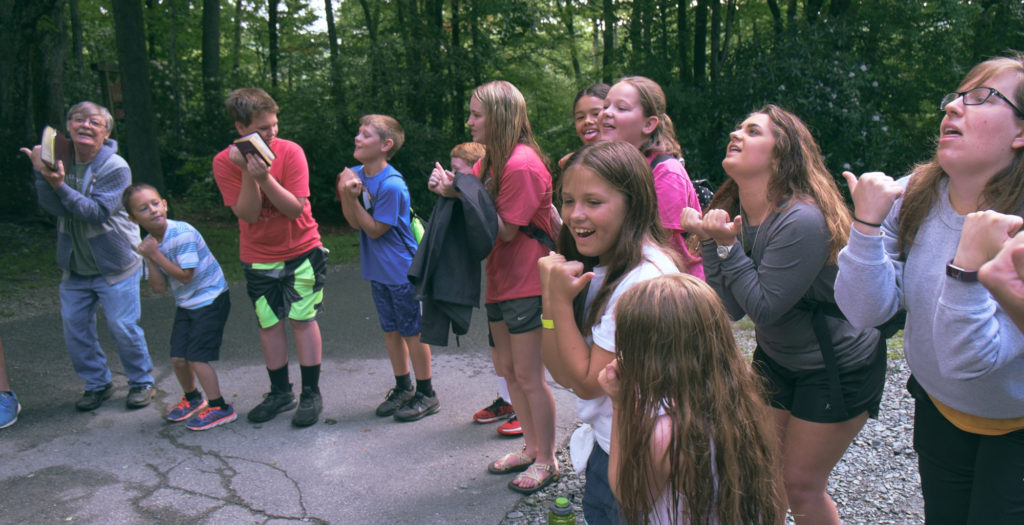 Campers and leaders singing a favorite.